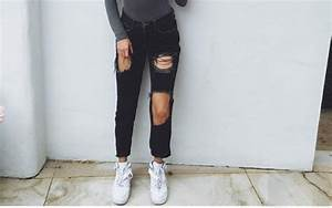 Jeans black black jeans denim ripped jeans tumblr outfit nice pretty cool girl style ...