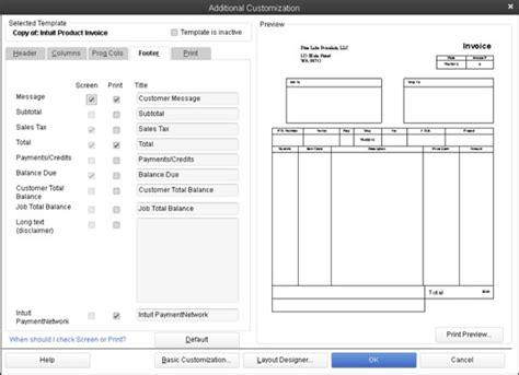 choose  quickbooks  invoice template  customize