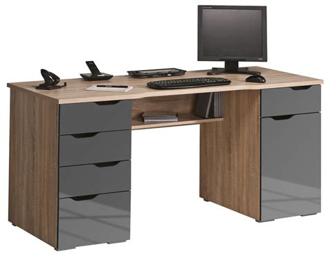 bureau high maja malborough oak grey computer desk