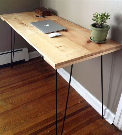 diy desk with hairpin legs reclaimed pine desk with hairpin legs f u r n i t u r e