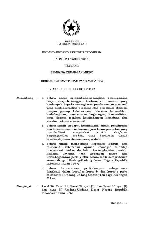 Uu no 1 tahun 2013 lembaga keuangan mikro by indosiana - Issuu