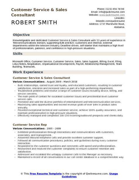 Sales And Customer Service Resume by Customer Service Sales Consultant Resume Sles Qwikresume