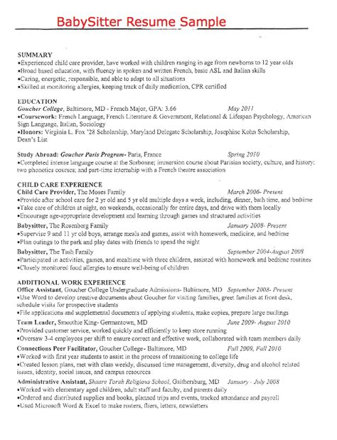 What To Put On A Babysitting Resume by Pin By Latifah On Exle Resume Cv Resume