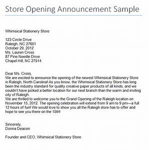 Store Opening Announcement Sample Archives  Sample Letter