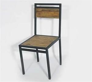 Chaise Industrielle Metal : chaise industrielle metal et manguier made in meubles ~ Teatrodelosmanantiales.com Idées de Décoration
