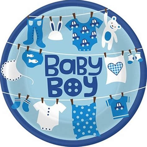 Baby Shower Boy by As A Button Baby Boy Dinner Plates 8ct