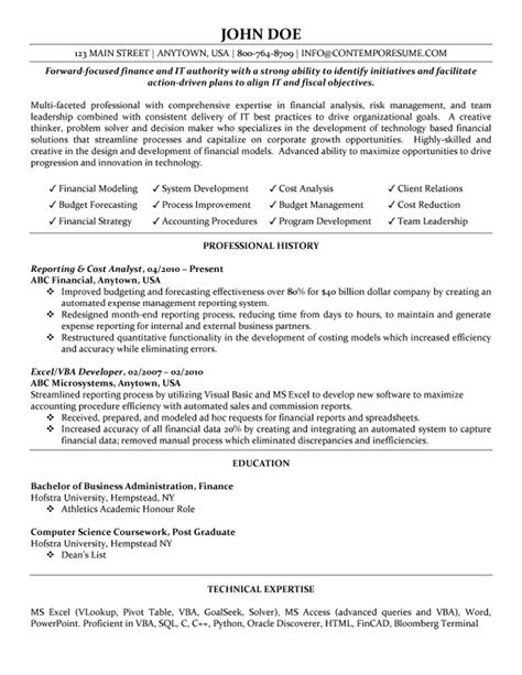 Exle Of A Great Resume by Cost Analyst Resume