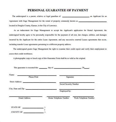 Template Personal Guarantee Agreement Template 10 Personal Guarantee Forms To Sle Templates