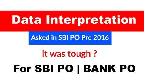Data Interpretation Asked In Sbi Po Pre 2016 ? Youtube
