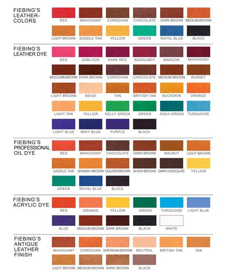 fiebings leather dye colors fiebing leather dye color chart tutorials