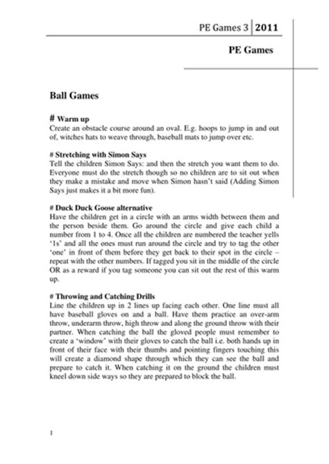 pe games fun outdoor lesson plans of by isaacreedy45