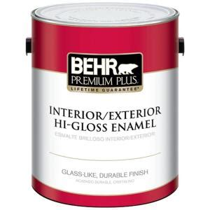 Home Depot Interior Paint Brands Behr Premium Plus 1 Gal Ultra White Hi Gloss Enamel Interior Exterior Paint 805001 The