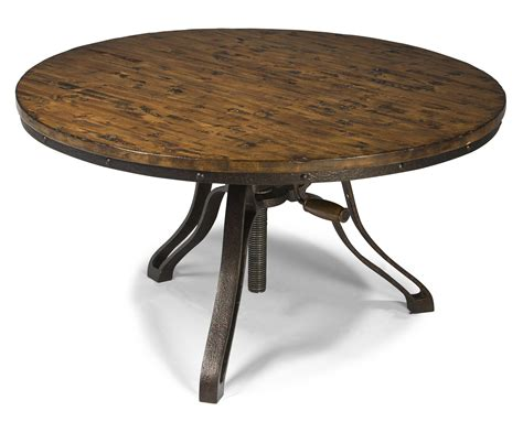 Industrial Style Round Cocktail Table With Adjustable Height
