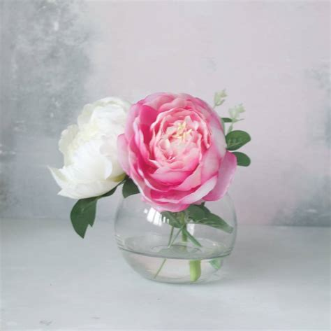 peony vase pink and peony bouquet in fish bowl vase by abigail