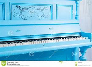 Colorful Blue Upright Piano Stock Image - Image of ...