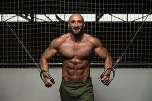 Chest Workout Cable Crossover Stock Image