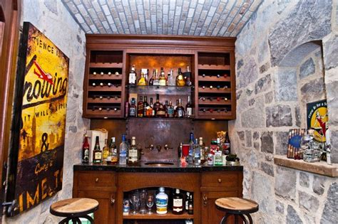 Rustic Living Room Wall Decor by Whiskey Cellar Traditional Home Bar Other Metro By