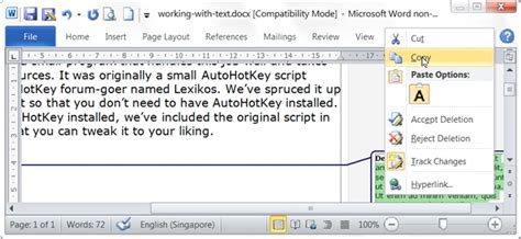 copy deleted text  microsoft word