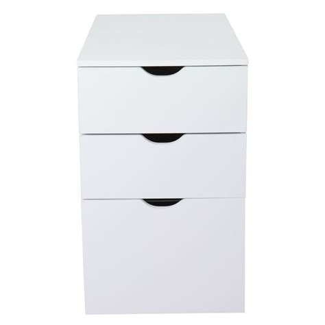 tiroir de bureau caisson de bureau 3 tiroirs blanc l30xh70xp70cm gothan