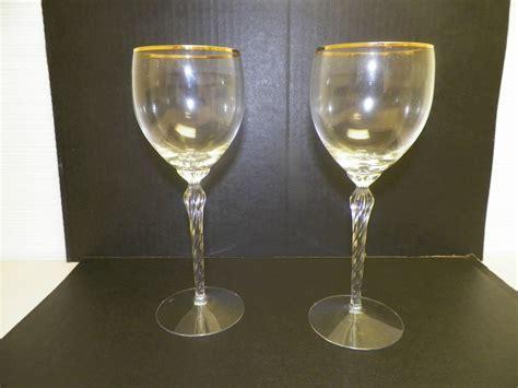 Lenox Crystal Stemware Gold Rim Wine Glasses 8 1/2