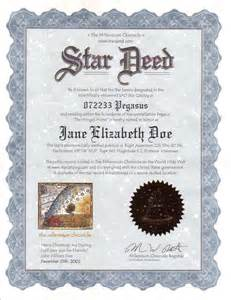 Name a Star Deed Certificate Template