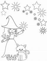 Coloring Witch Printable Shadows Sheet Wiccan sketch template