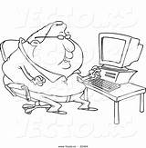 Coloring Fat Outline Cartoon Computer Potato Tall Person Template Overweight Toonaday Chubby Leishman Ron Vecto Rs Short sketch template