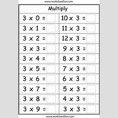 Multiplication Basic Facts  2, 3, 4, 5, 6, 7, 8 & 9  Eight Worksheets  Printable Worksheets