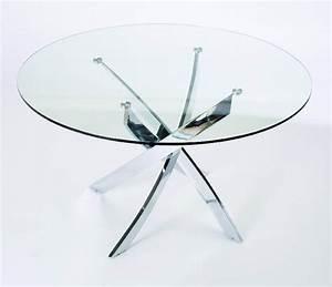 Table En Verre Ronde : table repas ronde verre jazz chrome ~ Teatrodelosmanantiales.com Idées de Décoration