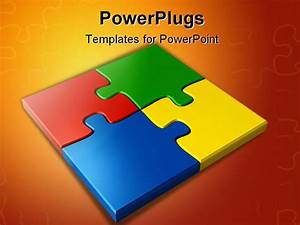 PowerPoint Template: Colored Puzzles (17824)