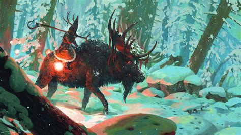 artwork fantasy art deer wizard animals forest snow