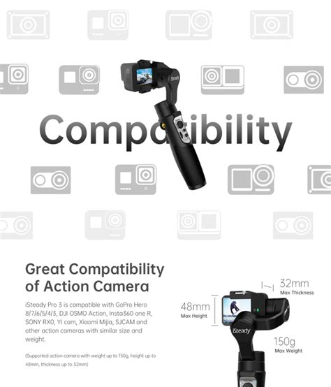 hohem isteady pro  gimbal  axis handheld camera stabilizer built  battery wifi module