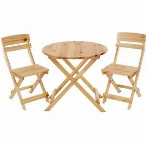 Table Pliante Avec Chaise : ensemble de jardin avec table ronde et 2 chaises pliantes en bois massif achat vente salon ~ Teatrodelosmanantiales.com Idées de Décoration