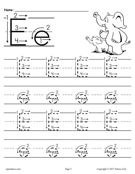 free printable letter e tracing worksheet with number and
