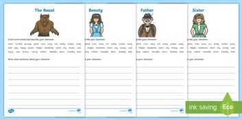 beauty   beast character description worksheet