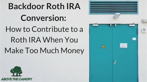 back door roth above the canopy financial freedom one step at a time