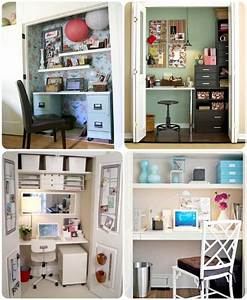 Desk in a closet for the home pinterest nooks for Home office closet organization ideas