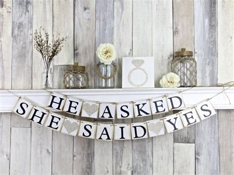He Asked She Said Yes Banner, Engagement Banner. Living Room Cabinets. Door Wall Decor. Decals For Baby Room. Metal Flower Decor. Balloon Decorating Classes. Leaving Room. Dining Room Credenza. Decorative Electric Fireplace