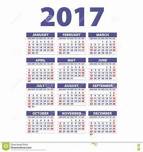 Calendario 2017 La Semana Empieza De Domingo Vector La ...