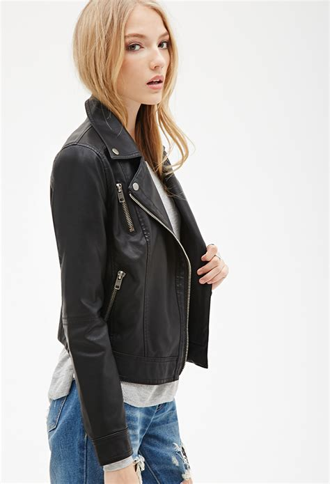 forever 21 zippered faux leather moto jacket in black lyst