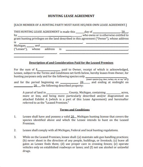 sample hunting lease agreement templates