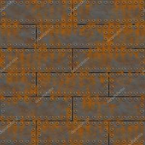 Rusty metal plates with rivets. Seamless texture or ...