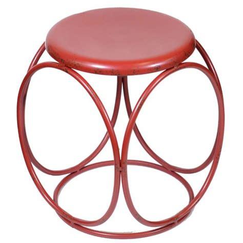 Sgabello Rosso Sgabello Vintage In Metallo Rosso