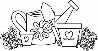 Coloring Pages Garden Gardens Tools Simple Colouring