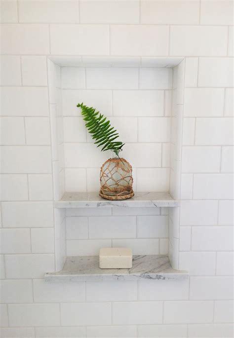 Bathroom Tile Shelf by White Subway Tile Shower Niche Fern Leaf Arts Crafts