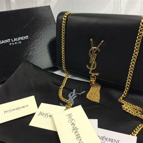 saint laurent black classic medium kate monogram ysl