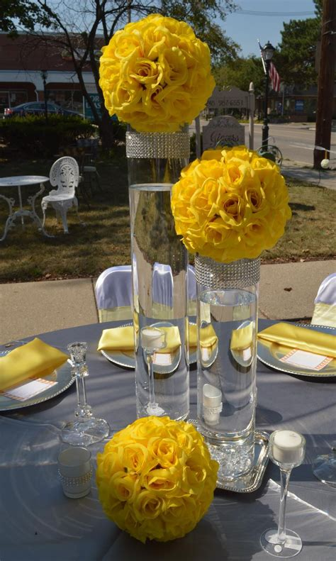 yellow kissing balls centerpiece wedding pinterest