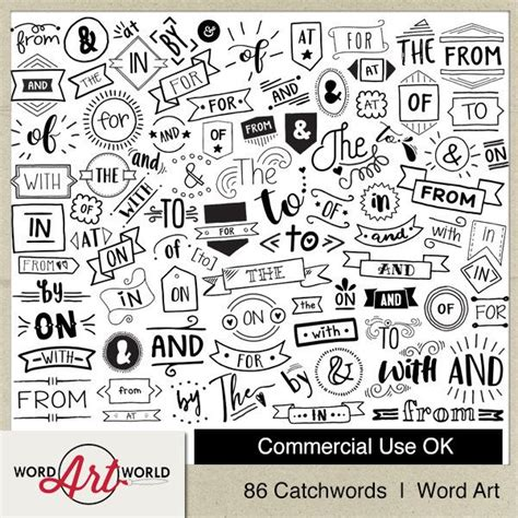 digital  printable overlay word set art instant