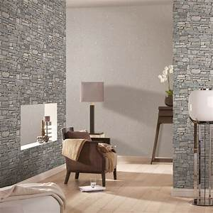 rasch modern surface vlies tapete 859102 natur stein grau With balkon teppich mit moderne tapeten