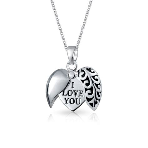 Open I Love You Filigree Heart Pendant 925 Silver Necklace